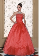 2014 Lovely Strapless Quinceanera Dress With Beading