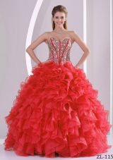 2014 Ruffles Puffy Sweetheart Beaded Decorate Quinceanera Dresses in Coral Red