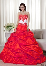 Princess Sweetheart for 2014 Appliques Quinceanera Dress with Pick-ups