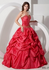 Romantic Puffy Strapless 2014 Quinceanera Dress with  Pick-ups and Beading