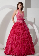 Sweet Ball Gown Halter Embroidery for 2014 Quinceanera Dress with Ruffles