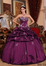 Lovely Fuchsia Puffy Sweetheart Appliques Quinceanera Dresses with Pick-ups