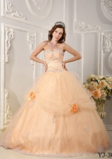Beautiful Sweetheart Organza Sweet Sixteen Dresses with Appliques and Hand Made Flowers