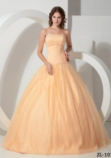 Elegant Princess Strapless Quinceanera Gown Dresses with Beading