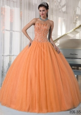 Orange Sweetheart Beaded Puffy Dress For Quinceaneras