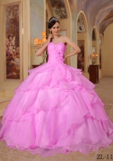 Pink Sweetheart Organza Sweet 15 Dresses with Beading and Layers