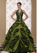 Halter Top Ball Gown Dresses Quinceanera with Beading and Embroidery