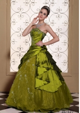 Modest Strapless Embroidery Decorate Olive Green Quinceanera Dress