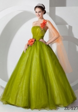 Princess One Shoulder Organza Quinceanera Gowns with Hand Made Flowers