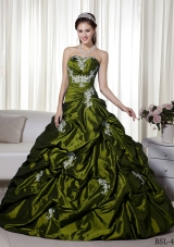 Princess Strapless Quinceanera Gown Dresses with Appliques and Pick-ups