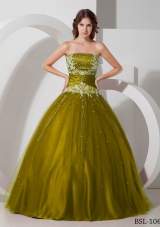 Princess Strapless Sweet 16 Dresses with Appliques and Beading