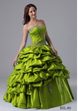 Princess Sweetheart Sweep Train Organza Quinceanera Gowns with Beading