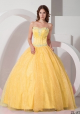 2014 Spring Beautiful Puffy Sweetheart Appliques Quinceanera Gowns with Beading