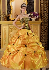 Orange Puffy Strapless Embroidery 2014 Quinceanera Dress with Pick-ups