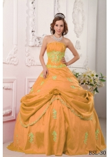 Sweet Orange Princess Strapless Beading and Appliques Quinceanera Dress for 2014