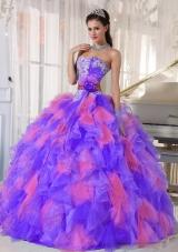 2014 Multi-color Sweetheart Organza Appliques Quinceanera Dresses
