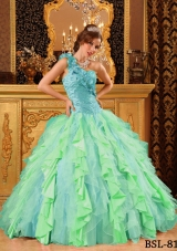 Pretty Multi-Color Puffy One Shoulder Beading And Ruffles Quinceanera Dresses