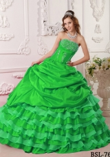 2014 Green Puffy Strapless with Pick-ups and Beading Quinceanera Dress