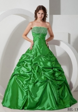 Beautiful Puffy Strapless Beading for 2014 Quinceanera Dress with Pick-ups