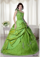 Cheap Puffy One Shoulder with Pick-ups and Appliques for 2014 Quinceanera Dress