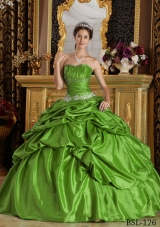 Green Puffy Strapless with Pick-ups and Beading Decorate for 2014 Quinceanera Dress