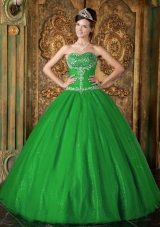 Lovely Princess Sweetheart with Beading for 2014 Green Quinceanera Dress