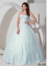 2014 Puffy Sweetheart Beading Quinceanera Dresses in Light Blue