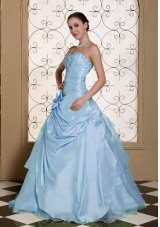 Light Blue Beaded Decorate Bust Sweet Quinceanera Dresses For 2014