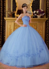 2014 Fashionable Puffy Sweetheart Appliques Quinceanera Dresses with Beading