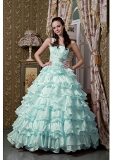 2014 Light Blue Princess One Shoulder Beading Quinceanea Dresses with Ruffled Layers