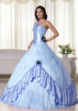 2014 Light Blue Puffy One Shoulder Beading Quinceanera Dresses