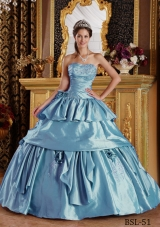 2014 Pretty Light Blue Puffy Strapless Beading Quinceanera Dresses with Appliques