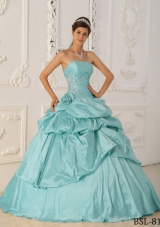 2014 Princess Strapless Hand Made Flower and Beading Quinceanera Dresses