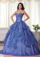 2014 Puffy Sweetheart Embroidery Quinceanera Gowns with Ruffles