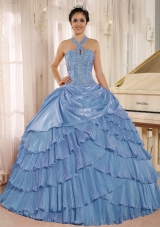 Aqua Blue Halter Top Pleat and Beading Quinceanera Dresses for 2014