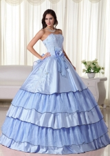 Light Blue Puffy Strapless with Ruffled Layers and Hand Made Flower2014 Quinceanera Dresses