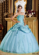 Luxurious Puffy Strapless Appliques and Beading 2014 Quinceanera Dresseses