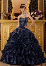Puffy Princess Sweetheart Ruffles and Appliques Navy Blue Quinceanera Dresses