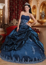Appliques Sweetheart Ball Gown Quinceanera Dresses in Navy Blue
