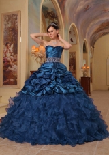 Blue Princess Sweetheart Quinceanera Gowns With Beading