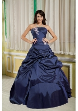 Cheap Princess Strapless Appliques Quinceanera Dresses for Military Ball
