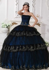Navy Blue Puffy Appliques Navy Quinceanera Gowns with Strapless