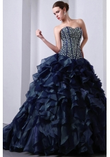 New Style Princess Sweetheart Beading Quinceanea Dresses with Brush Train