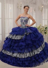 Unique Sweetheart Zebra and Organza Quinceanera Dresses with Beading