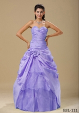 2014 Purple Ruching Bodice Quinceanera Dresses with Hand Made Folwers