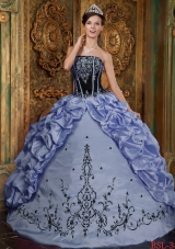 2014 Lilac puffy Strapless Embroidery Quinceanera Dresses with Pick-ups
