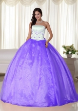 2014 Puffy Strapless Quinceanera Dresses for Appliques