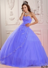 Classical Puffy Sweetheart Appliques Lilac Quinceanera Dress for 2014