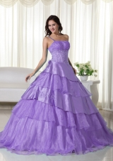 Cute Lavender Puffy One Shoulder Ruffles and Beading Quinceanera Dresses for 2014