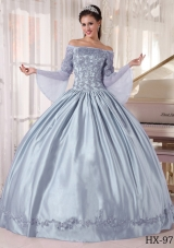 Discount Puffy Off The Shoulder Appliques Quinceanera Dresses for 2014